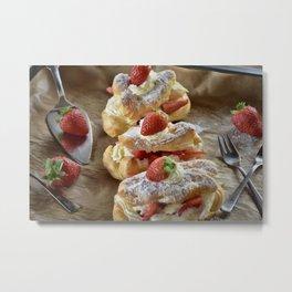 Strawberry Eclair Metal Print