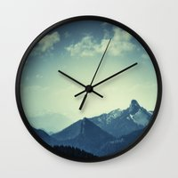 mountains Wall Clocks featuring Mountains by Koka Koala