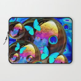 SURREAL NEON BLUE BUTTERFLIES IRIDESCENT SOAP BUBBLES PEACOCK EYES Laptop Sleeve