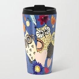 3 Wise Owls in Flower Garden at Night Travel Mug