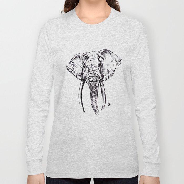 Elephant Drawing Long Sleeve T-shirt