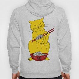 Cat eats mouse noodles  Hoody