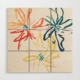 Gestural Blooms Wood Wall Art