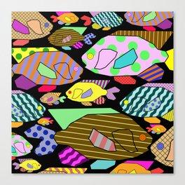 Geometric Fish - Abstract, retro design Canvas Print