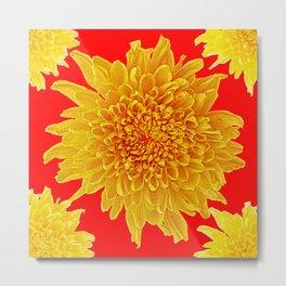 Golden Yellow Chrysanthemums Red Art Design Metal Print