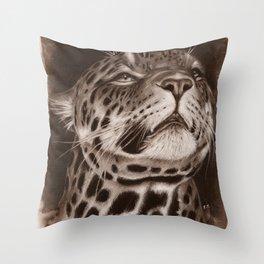 Jaguar Spotted Cat Sepia Drawing Throw Pillow