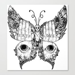 hate love butterfly Canvas Print