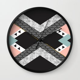 Abstract composition of textures with geometric shapes Wall Clock