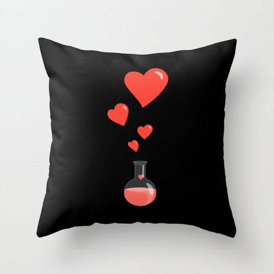 Love Chemistry Flask of Hearts Throw Pillow