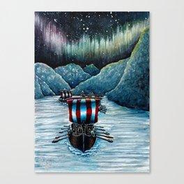 Drakkar in Norse Fjord Ft. Aurora Borealis Canvas Print