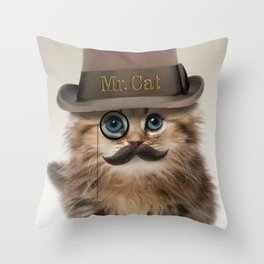 Mister Cat Throw Pillow