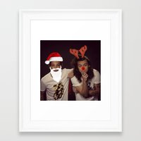 larry stylinson Framed Art Prints featuring Noel and Rudolph - Larry Stylinson Christmas by girllarriealmighty