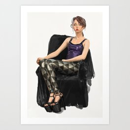 Erika Tschirhart in Black Milk black and silver triangles and latex top Art Print