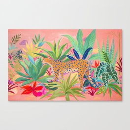 Leopard in Succulent Garden Canvas Print