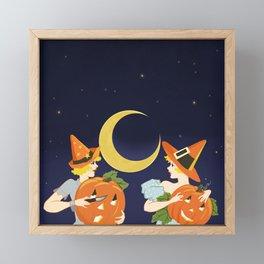 Vintage Halloween Costume Party Pumpkin Carving Framed Mini Art Print