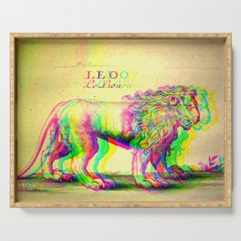 Lion Antique Engraving Glitch Version Serving Tray