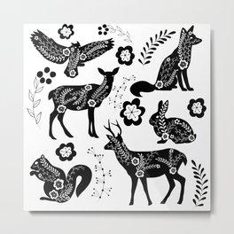 Folk Art Forest Animals Metal Print