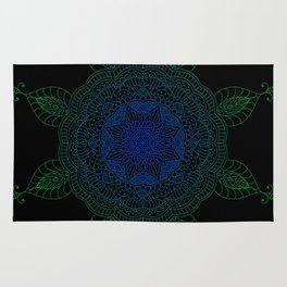 Blue and Green Flower Pattern Rug