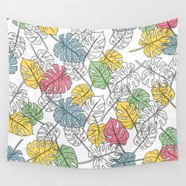 Monstera - Lines - Pattern - Colors I Wall Tapestry