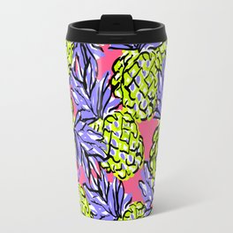 Pineapples on Pink Travel Mug