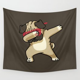 Dabbing Pug Wall Tapestry