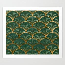 Emeral gold petal pattern Art Print