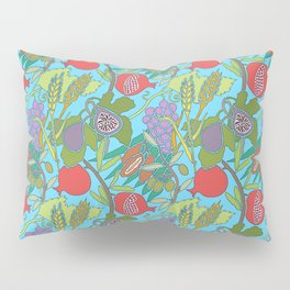 Seven Species Botanical Fruit and Grain with Aqua Background Pillow Sham