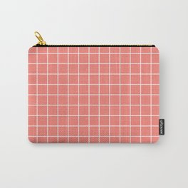 Coral pink - pink color - White Lines Grid Pattern Carry-All Pouch