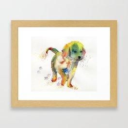 Colorful Puppy - Little Friend Framed Art Print
