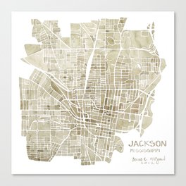Jackson Mississippi watercolor city map Canvas Print