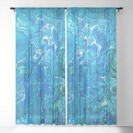 Elegant Crazy Lace Agate 2 - Blue Aqua Sheer Curtain
