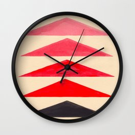Vintage Scandinavian Red Geometric Triangle Pattern Wall Clock