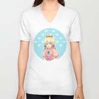 peach V-neck T-shirts featuring peach by madammonkey