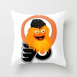 Gritty the mascot of. The Flyers Throw Pillow