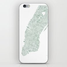 Map Manhattan NYC watercolor map iPhone Skin