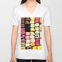 macarons V-neck T-shirts featuring Macarons LOVE by Lucrezia Semenzato