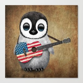 Baby Penguin Playing American Flag Acoustic Guitar Canvas Print