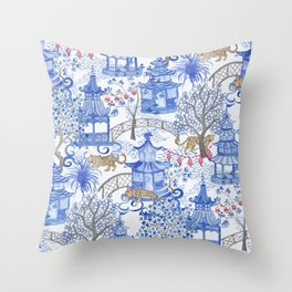 Party Leopards in the Pagoda Forest Throw Pillow