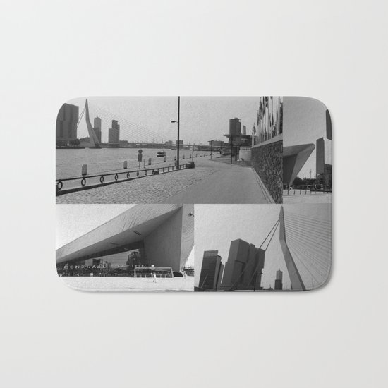 Photo collage Rotterdam 4 in black and white Bath Mat
