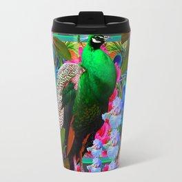 INDIGO PURPLE & PINK ROSES GREEN PEACOCK FLORAL Travel Mug