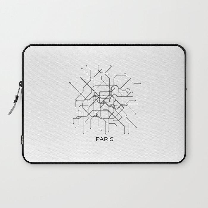Black White Subway Map.Paris Metro Map Subway Map Paris Metro Graphic Design Black And White Canvas Metropolian Art Laptop Sleeve By Printablelifestyle