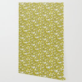 origami animal ditsy chartreuse Wallpaper