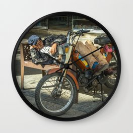 Moped Siesta  Wall Clock