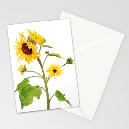 One sunflower watercolor arts Stationery Cards