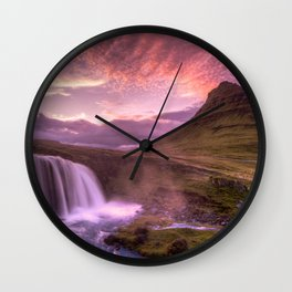 Sunset in the Land of Ice Wall Clock