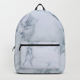Elegant Creamy White Marble with Light Blue Veins Backpack