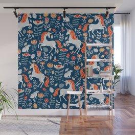 Unicorns, rabbits, birds, flowers. Decorative seamless pattern. Folk art. Wall Mural