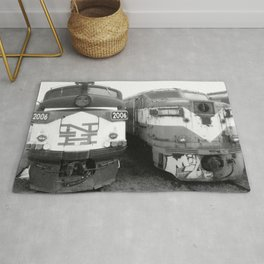 Retired Trains Photography Rug