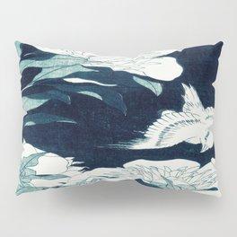 JAPANESE FLOWERS Midnight Blue Teal Pillow Sham