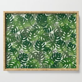 Exotic Palm Leaf Pattern Serving Tray